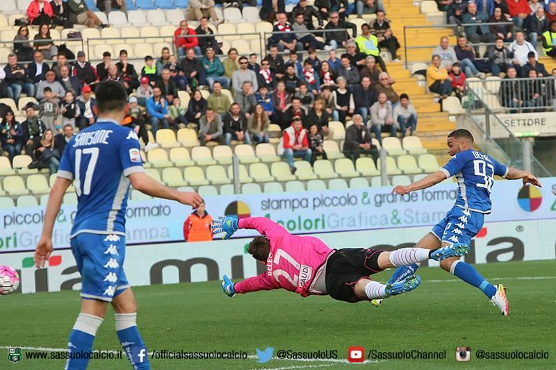 Defrel realizza il gol del momentaneo 1-2 in Carpi-Sassuolo (fonte: sassuolocalcio.it)