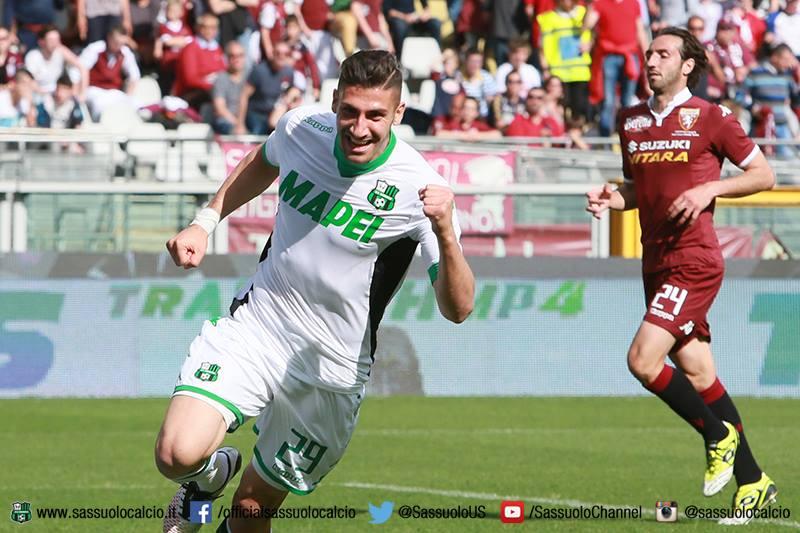 Trotta esulta dopo il gol del definitivo 1-3 contro il Torino (fonte: sassuolocalcio.it)