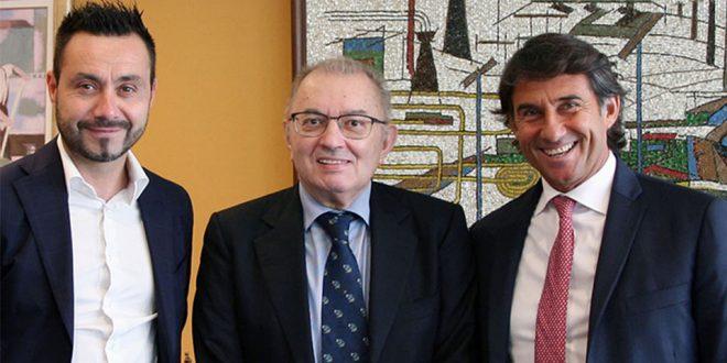 Roberto De Zerbi con Squinzi e Carnevali