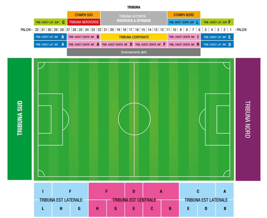 Abbonamento Sassuolo 2018-19: settori Mapei Stadium