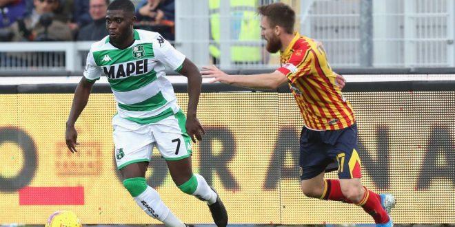 Jeremie Boga dribbling, Lecce-Sassuolo 2-2
