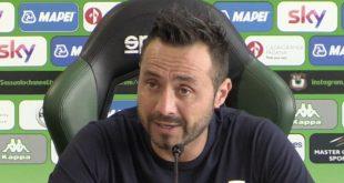"De Zerbi verso Sampdoria-Sassuolo: ""Avversario tosto. Vorrei più equilibrio da parte dell'ambiente"""
