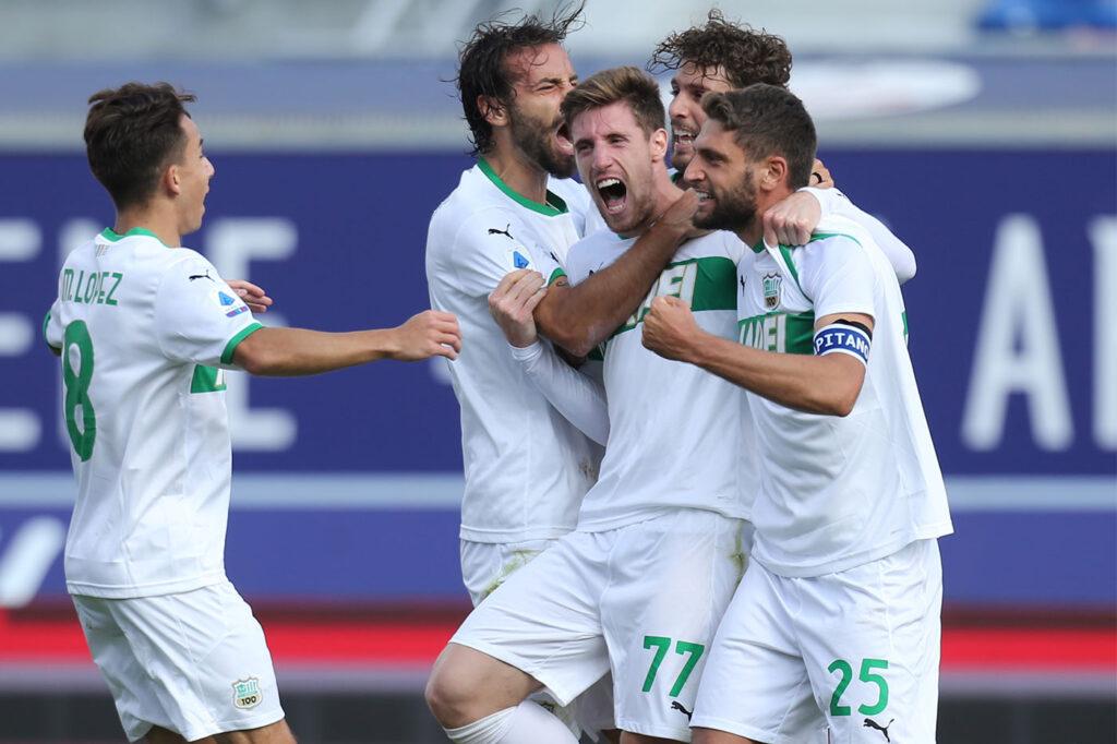 Bologna-Sassuolo 3-4, esultanza Kyriakopoulos